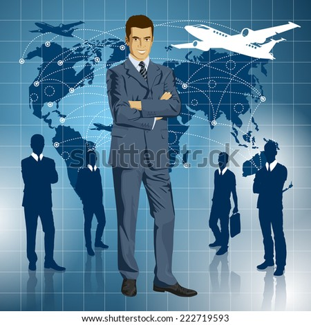 Vector Idea and travel concept. Business man with laptop in his hands - stock vector