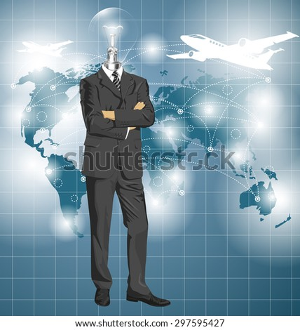 Vector Idea and travel concept, Lamp head business man in suit. All layers well organized and easy to edit - stock vector