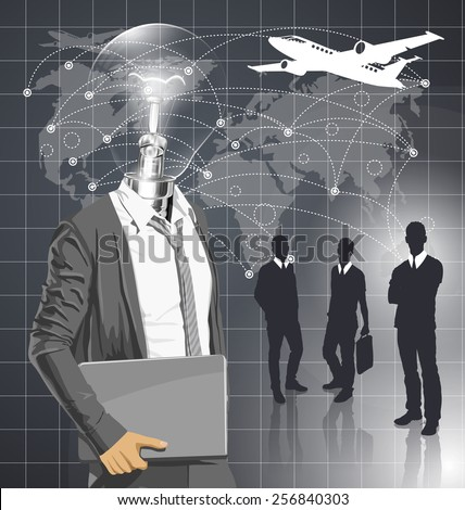 Vector Idea and travel concept. Lamp head business man with laptop in his hands. All layers well organized and easy to edit - stock vector