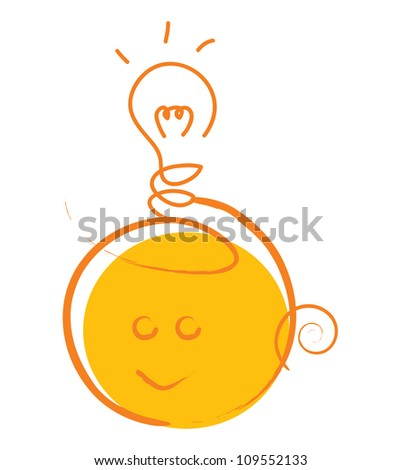 Vector Idea Concept With Cute Head Under The Light Bulb Isolate on White Background - stock vector