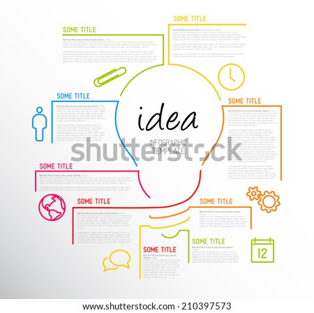 Vector idea Infographic template made from lines and icons - stock vector