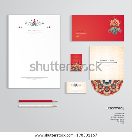 Vector identity templates. Letterhead, envelope, business card, tag, disc with packaging, pencils. Beautiful floral pattern in vintage oriental style. - stock vector