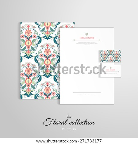 Vector identity templates. Letterhead, folder for documents, business cards. Beautiful floral pattern in modern style. - stock vector
