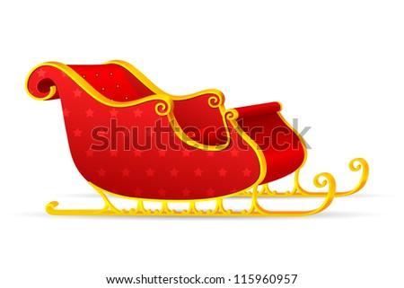 vector illiustration of santa's slegde - stock vector