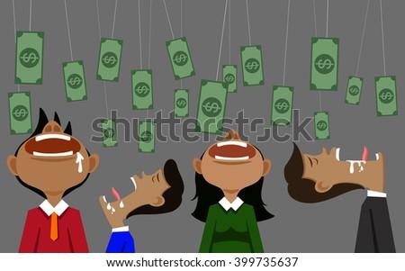 vector illustation businessman money and bait - stock vector