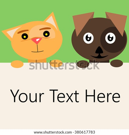 Vector illustrated cartoon cat and dog holding a blank banner. - stock vector
