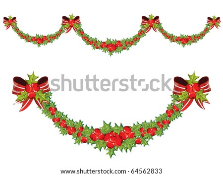 Vector illustrated Christmas garland - stock vector