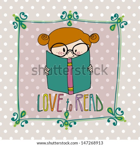 vector illustrated cute little girl with book - stock vector