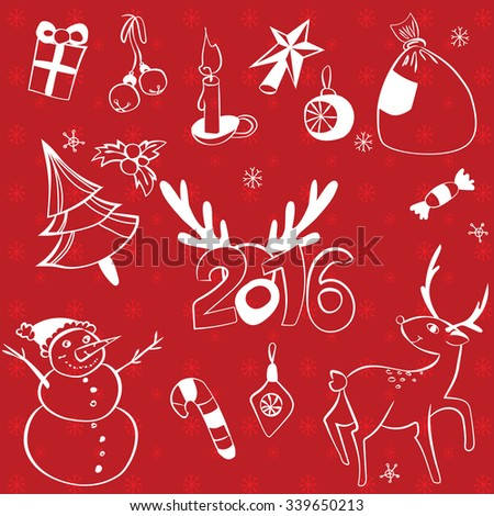 Vector illustrated graphics Christmas elements set for your holiday design.  Stylish New Years 2016 icons. Snowman, deer, pine tree, presents, sweets, decorations, candle and holly berry - stock vector