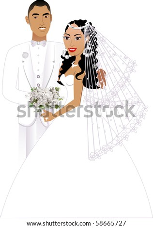 Vector Illustration. A beautiful bride and groom on their wedding day. Wedding Couple 5. - stock vector