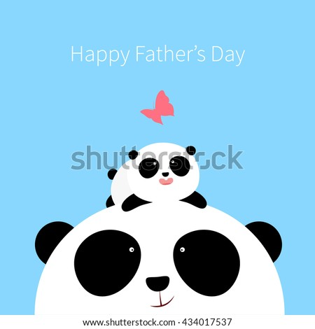 Vector Illustration: A cute cartoon little panda is lying on the head of his father,  looking at a butterfly, for Happy Father's Day. - stock vector