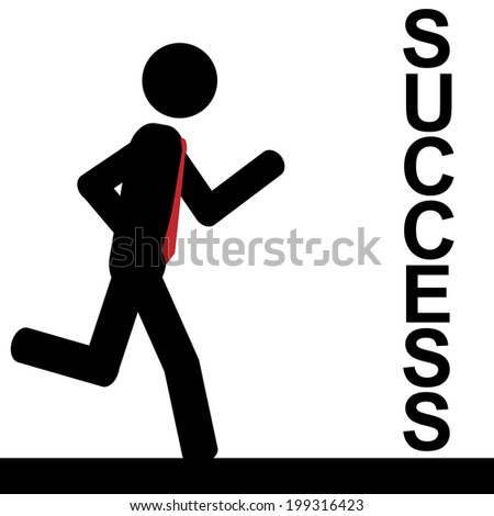 Vector/illustration. A man is running to success. - stock vector