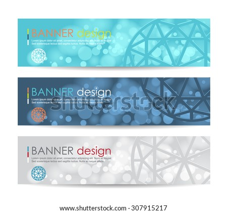 Vector illustration,A set of modern vector banners with polygonal background,vector background - stock vector