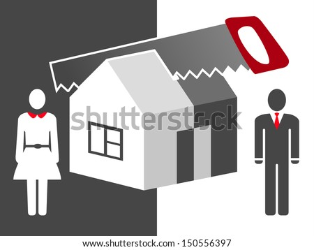 vector illustration about division of property - stock vector