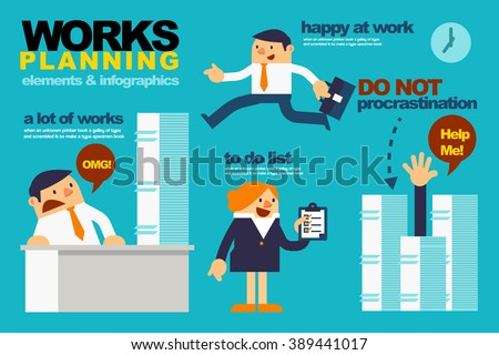 Vector Illustration about Elements and Infographics for Business People Work Planning. - stock vector