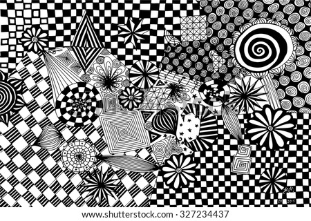 Vector illustration, abstract artwork in black and white, card concept. - stock vector
