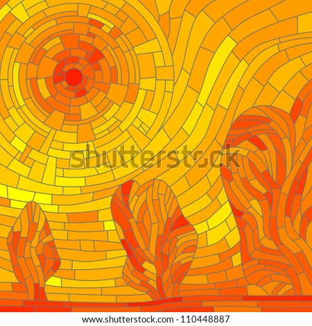 Vector illustration abstract background: mosaic red hot sun with trees in yellow tone. - stock vector