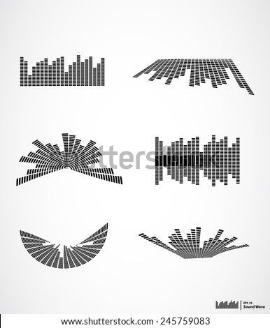 Vector illustration abstract background, sound effect, Sound waves set - stock vector