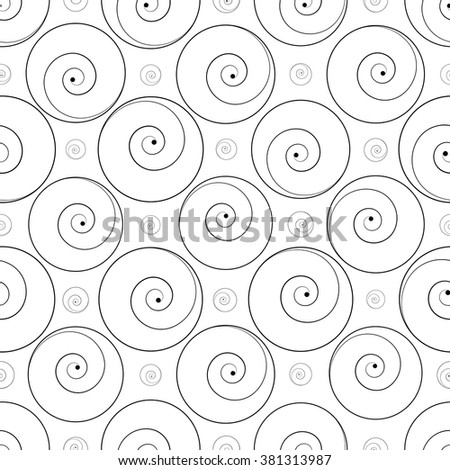 vector illustration - abstract elegant twirl seamless pattern in white and black - stock vector