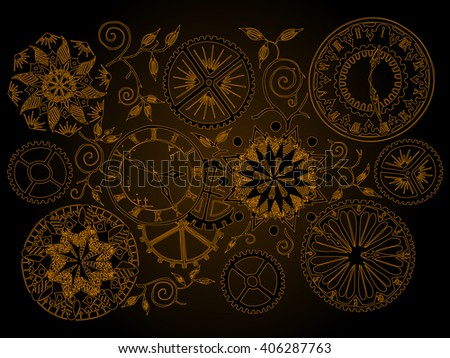 Vector illustration, abstract perception of time, freehand drawing, golden collection, card concept. - stock vector