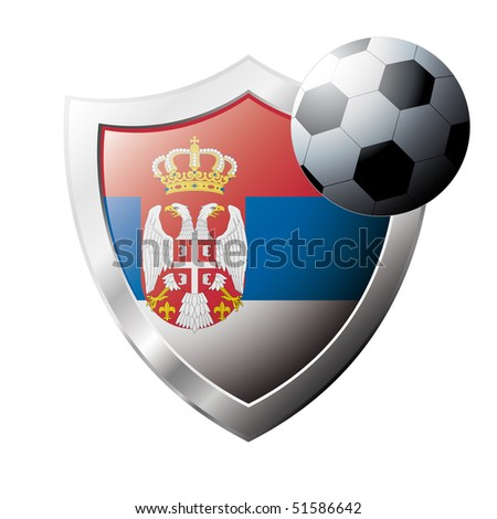 Vector illustration - abstract soccer theme - shiny metal shield isolated on white background with flag of Serbia - stock vector