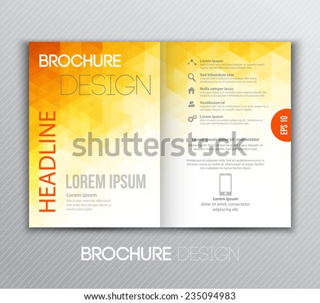 Vector illustration Abstract template brochure design with orange  geometric background - stock vector