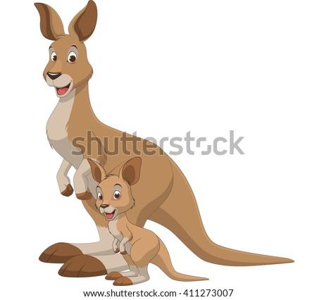 Vector illustration, adult kangaroo and baby kangaroo, on a white background - stock vector