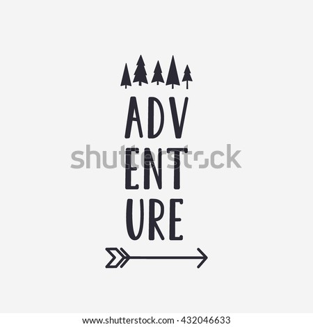Vector illustration ADVENTURE lettering with forest and arrow. Outdoor label logo - stock vector