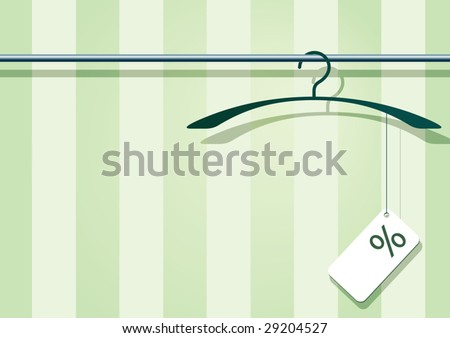 Vector illustration af a coat-hanger with a label with percent-sign. - stock vector