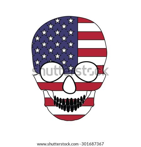 Vector illustration america flag painted on a skull. - stock vector