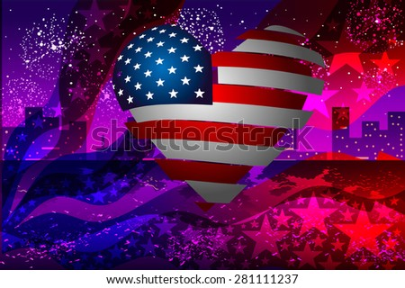Vector illustration. American flag and heart on the background of the city at night and fireworks. - stock vector