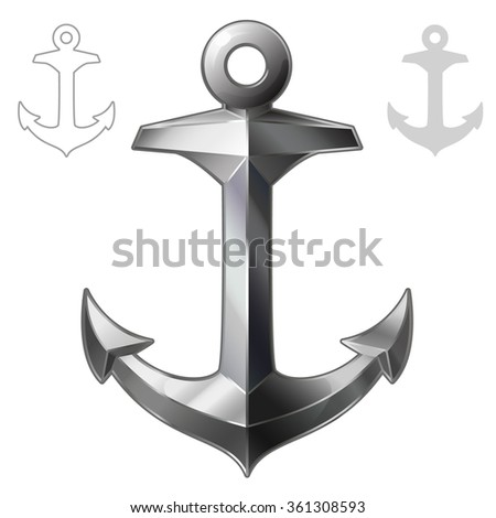 vector illustration Anchor isolated on white background - stock vector