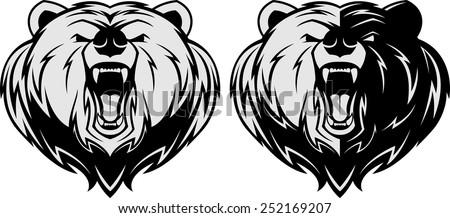 Vector illustration, Angry bear head mascot, head mascot - stock vector