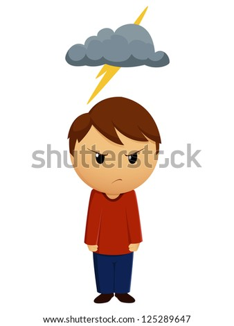 Vector illustration. Angry boy with dark cloud above - stock vector