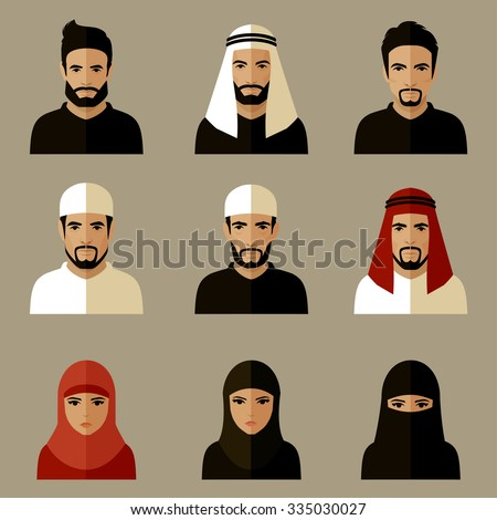 vector illustration, arabic people, arab woman, arabian man - stock vector