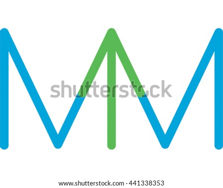 Vector Illustration Arrow. Two letter M's make an Arrow. Business Logo - stock vector