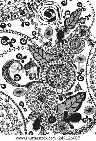 Vector illustration, artline, mandala flowers. - stock vector