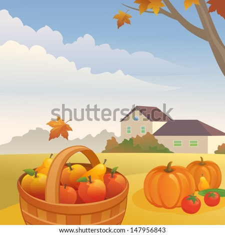 Vector illustration: autumn day at the farm - stock vector