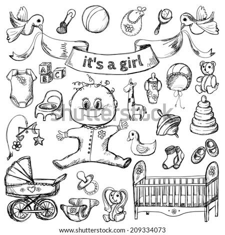 Vector illustration. Baby sketch set. girl  - stock vector