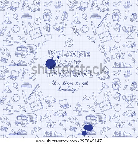 Vector illustration Back to school greeting card of kids doodles with bus, books, computer, blackboard and world map on notebook grid sheet - stock vector