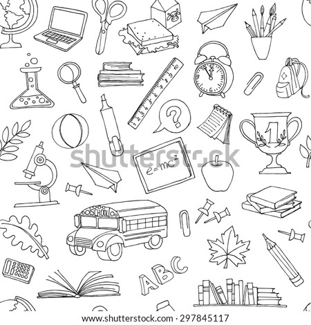Vector illustration Back to school seamless pattern of kids doodles with bus, books, computer, blackboard and world map - stock vector