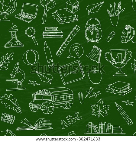 Vector illustration  Back to school seamless pattern of kids doodles with bus, books, computer and world map on green blackboard - stock vector