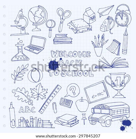 Vector illustration Back to school set of kids doodles with bus, books, computer, blackboard and world map on notebook grid sheet - stock vector