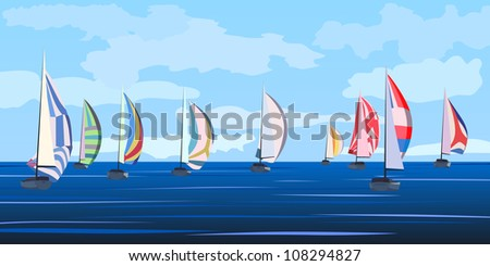 Vector illustration background of cartoon sailing regatta with many yachts on horizon in blue tone. - stock vector