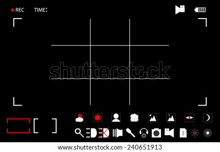 Vector illustration / background. Template for footage - the viewfinder camera recording. Simply remove the black background and place the workpiece to your footage. Leave icon of your choice. - stock vector