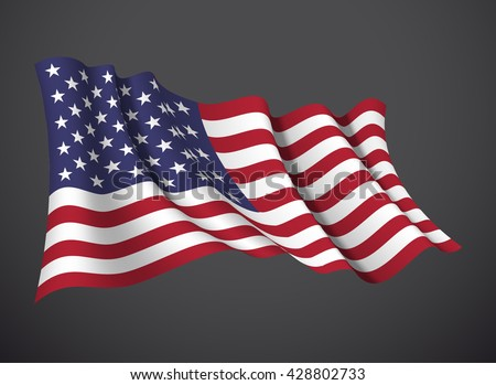 vector illustration banner with USA flag waving in the wind isolated on a dark background. Modern day of independence country. Holiday card with standard Spirit of the union National Day - stock vector