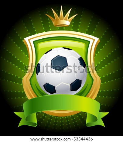 Vector illustration - banners with soccer ball, shield and crown - stock vector