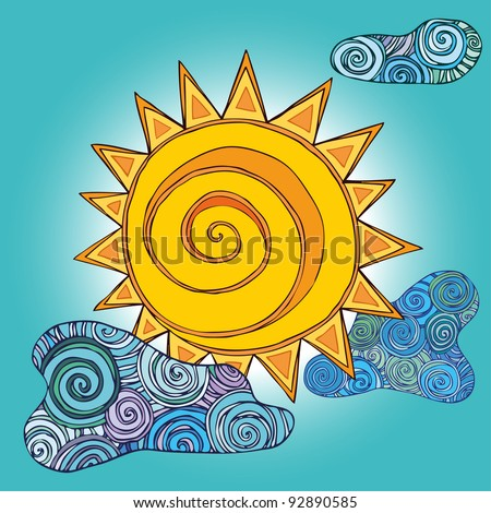 Vector illustration, beautiful abstract sunrise, card concept. - stock vector
