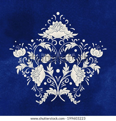 Vector illustration. Beautiful floral element of pattern for your design.  Imitation of chinese porcelain painting. Blue seamless watercolor background. Hand drawing. - stock vector