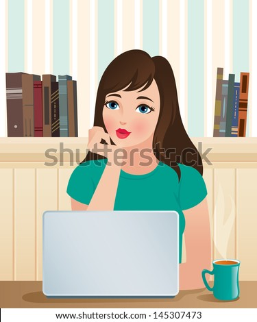 Vector illustration beautiful girl and laptop/ Girl and a laptop/ Cute girl at his computer in the cozy domestic surroundings - stock vector